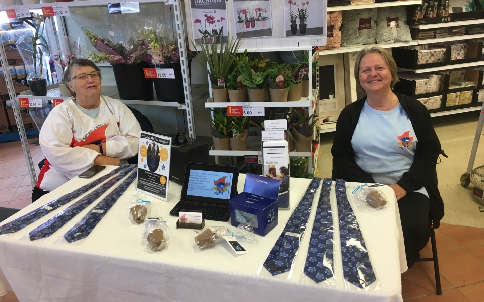 Barb & Cathy Selling Ties for Alzheimer's